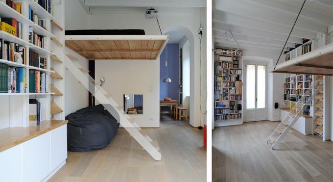 architetto Tommaso Giunchi; progetto di scala scorrevole per soppalco integrata nella libreria