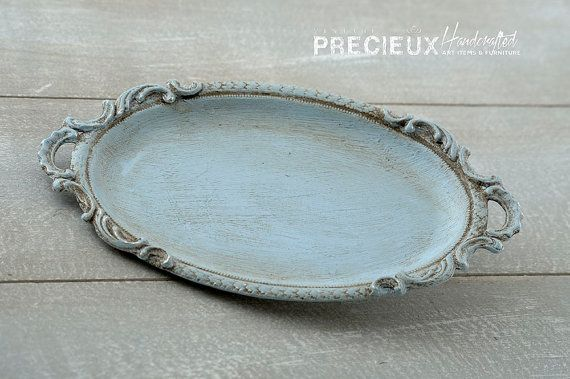 SIlver Small Tray Vintage Shabby Chic  Sky blue by vintagePRECIEUX