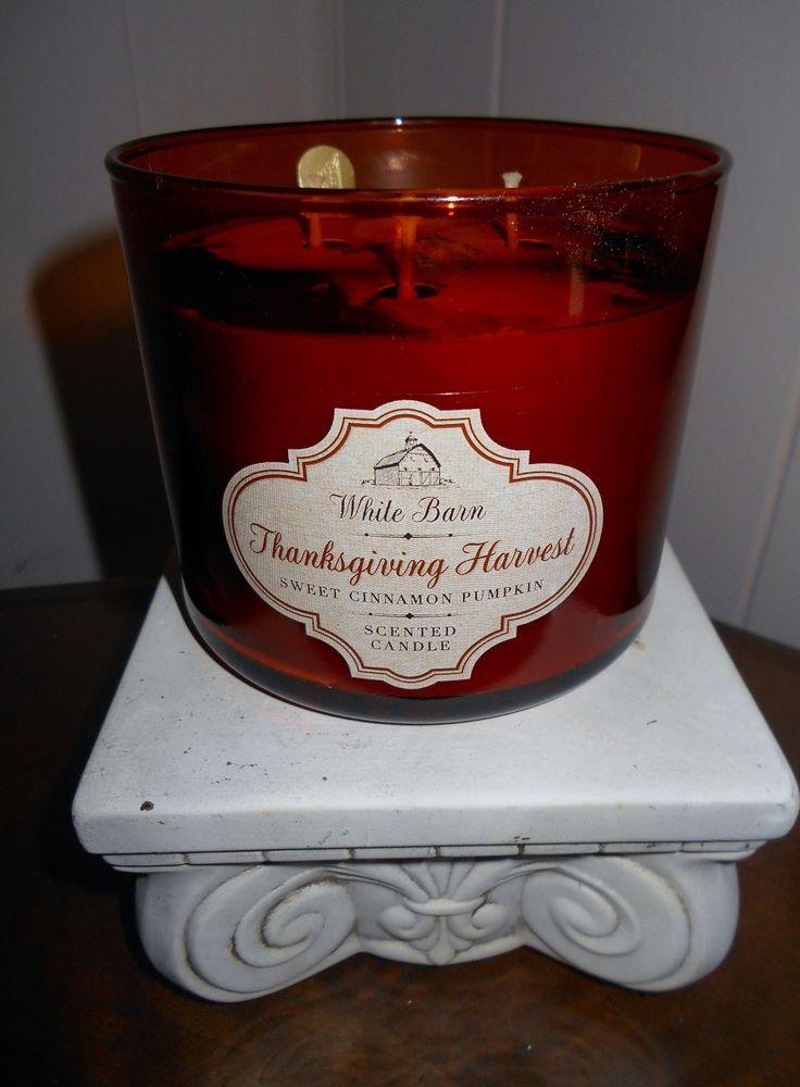 Bath & Body Works White Barn THANKSGIVING HARVEST 3-Wick Candle 14.5 oz  USA #WhiteBarn