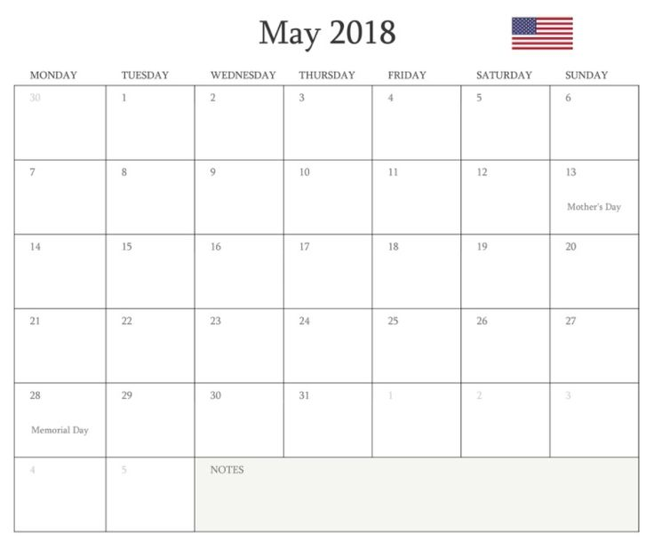 May 2018 Holidays USA Calendar Template