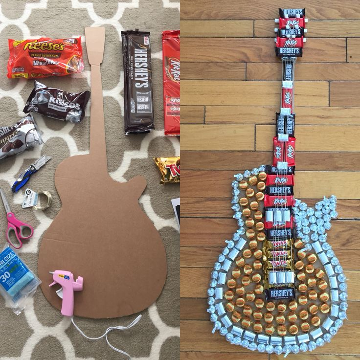 DIY Candy Guitar that I made my husband for Valentine's Day. Materials needed: cardboard cutout of guitar of choice, hot…