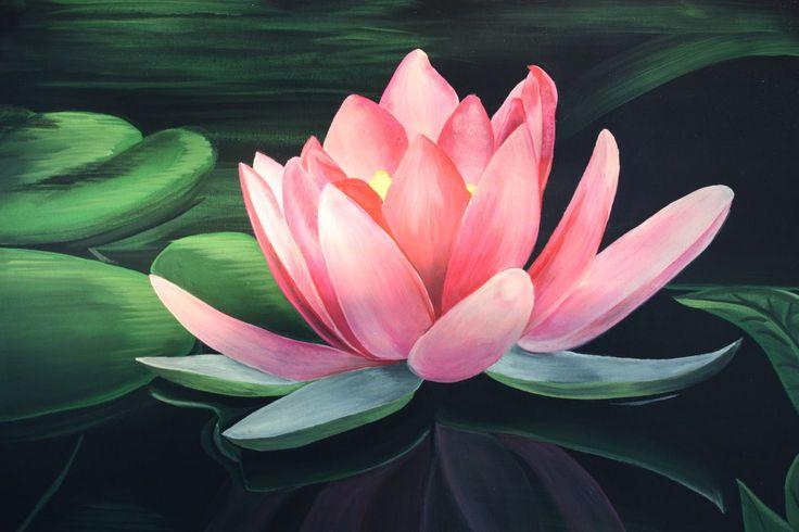 Lotus Flower Painting - Acrylic Painting Lotus - YouTube