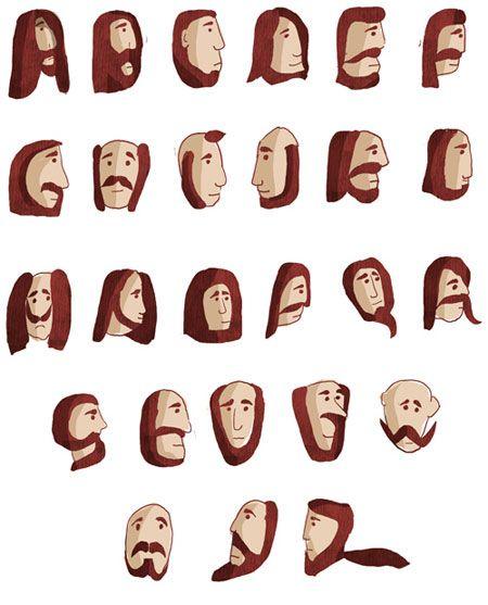 Beard Font: Beards Fonts, Fun Hair, Gifts Cards, Facials Hair, Graffiti Alphabet, I Love Beards, Beards Alphabet, Typography, Letters
