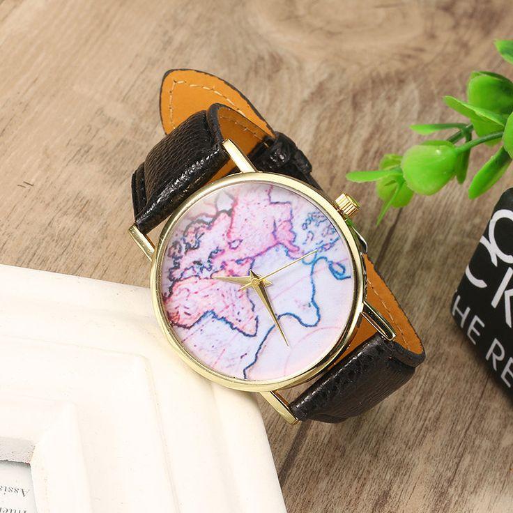 Women's Retro Watch Leather Map Vintage Watch