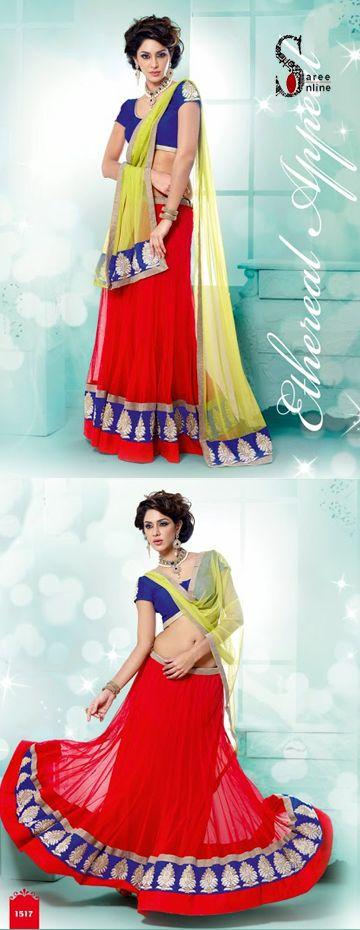 $109.00 Diva style Red net lehenga with lime green net dupatta.  http://www.sareeonline.com/proj/gallery/fullview.aspx?scode=rhl313