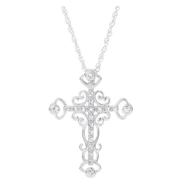 H Star 14k White Gold 1/8ct TDW Diamond Cross Necklace ($197) ❤ liked on Polyvore featuring jewelry, necklaces, white, white gold charms, chain necklaces, white gold necklace, cross pendant and diamond cross necklace
