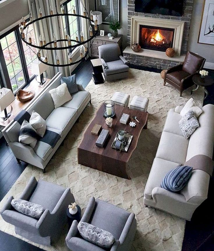 48 Comfortable Family Room Design Ideas We Want To Relax In All Day Long Large Living Room Layout Dark Furniture Living Room Living Room Seating