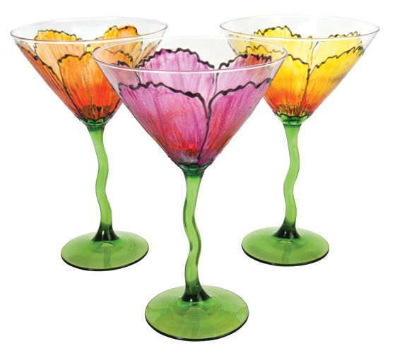 Flower Petal Martini Glasses by Deco Art (Love these.)