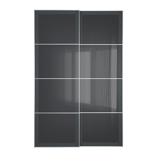 IKEA UGGDAL Pair of sliding doors Grey glass 150x236 cm 10 year guarantee. Read about the terms in the guarantee brochure.