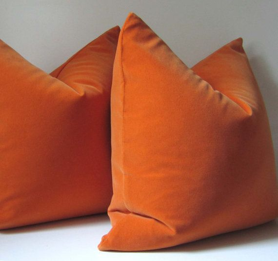 Orange Pillow - Decorative Pillow Cover - 20 inch - designer quality - orange velvet - orange ...