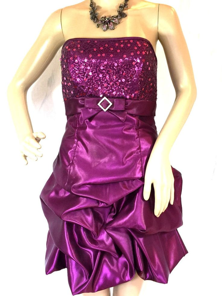 Jessica Mcclintock Gunne Sax Prom Dress Vtg 80'S Sequins Party Cocktail Womens 3 #GunneSax #AsymmetricalHemStraplessFullyLined #CocktailHomecomingProm