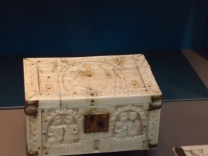 Carved ivory casket, German (Cologne), 1180-1200 A.D. The carved images show scenes from the courtship of Tristan and Isolde.