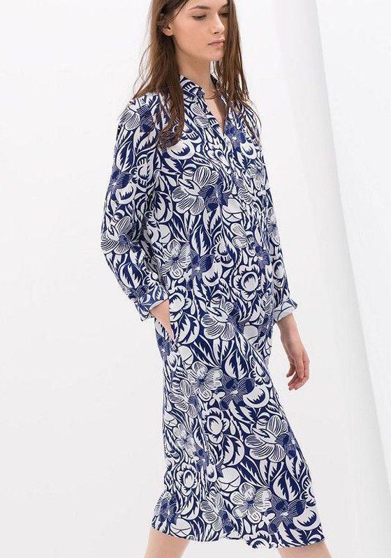 Blue Floral Buttons Loose Midi Dress