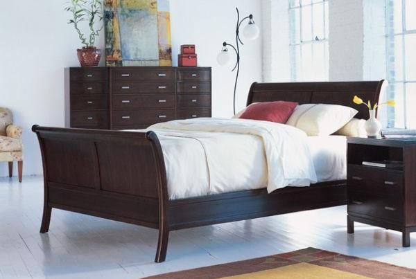 Furniture, Brown And Elegant Design Of Sleigh Bed With The Great And Beautiful Design Ideas With Cabinet And Night Table With Some Flower Vase And Also Picture On The Cabinet With Small Chair ~ To Get More Information About What Is A Sleigh Bed As Your Furniture