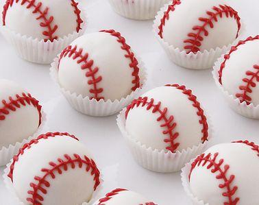 Baseball Cake Bites, $24.99. (http://www.cakebites.biz/products/baseball-cake-bites.html) #cakeballs #cakepops #baseball