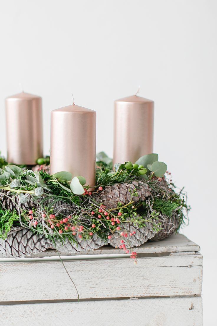 Adventskranz mit Kupferkerzen/ Adventsfloristik Hannover / German florist/ It's Christmas time / DIY X-mas/