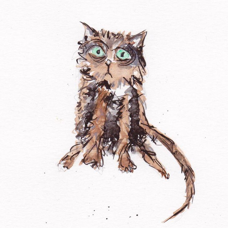 Tabby Cat   #art #cats #catlovers #tabby #tabbycat #weird #lovecats #catart #illustration #tabbycatdrawing #tabbycatpainting #justacard #independentartist #catloversgift #catportrait #petportrait #theinkycreatures #inkcreature #catink