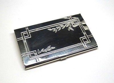 2002 Tiffany Co Sterling Silver Business Card Holder Case Leaf Pattern Design