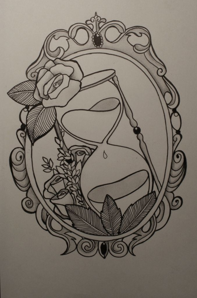 I would love something like this on the back of my legs. One leg with a tea pot and the other leg with a tea cup, both in vintage frames like this.