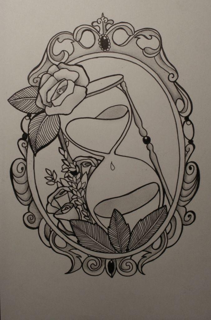 Rahmen mit Sanduhr, Tattoo-Skizze