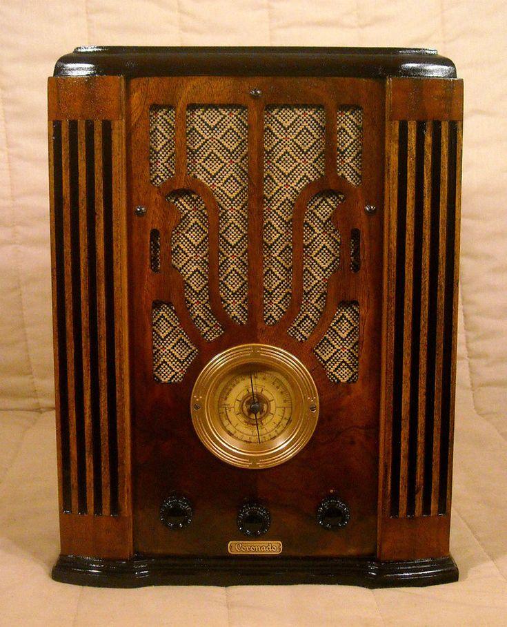 Old Antique Wood Coronado Vintage Tube Radio - Restored & Working Tombstone  #Coronado