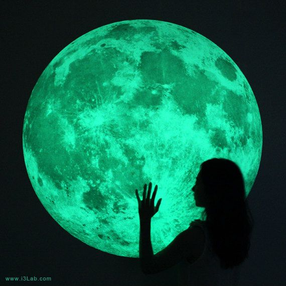 The worlds largest Moonlight /XL-size, Clair De Lune (glow in the dark moon wall sticker-100cm). $178.00, via Etsy.