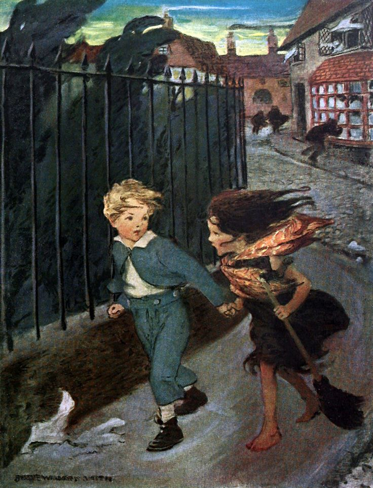 """'Now you lead me,' he said, taking her hand, 'and I'll take care...' """"At the back of the North Wind"""" (1919) illustrated by Jessie Willcox Smith"""