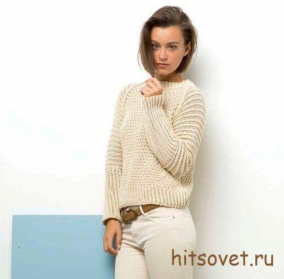 Бежевый пуловер спицами женский, фото.