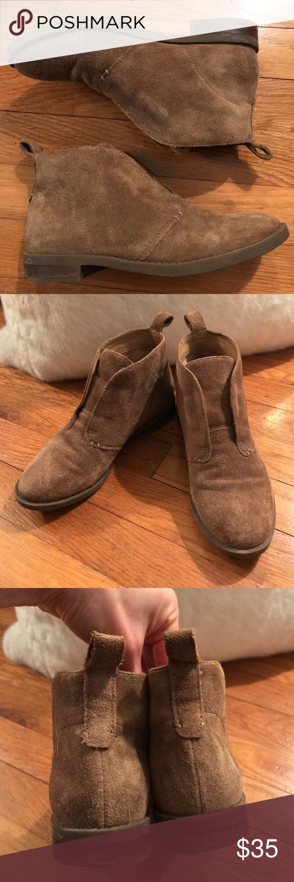 Franco Sarto suede booties Attention petite ladies!! Gently used Franco Sarto suede slip on booties. Women's size 4.5, hard to find cute shoes in this size!  Could work for a young girl as well. Love the soft feel and how the neutral tan color goes with anything!  Some very minor signs of wear, see photos and ask me anything! (Couple minute spots on right toe area and one spot on back of left heel near pull on strip). Make offer!! Franco Sarto Shoes Ankle Boots & Booties