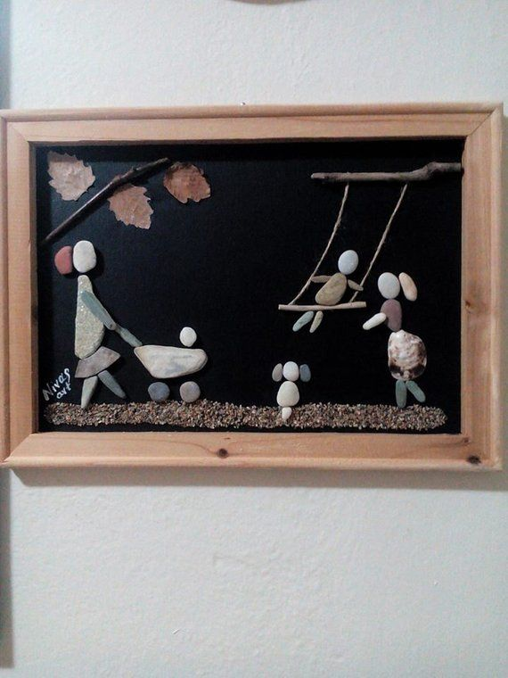 Items Similar To Unique Pebble Art Wall Hanging With Natural Materials Moms In The Park On Etsy Pebble Art Hanging Wall Art Driftwood Art