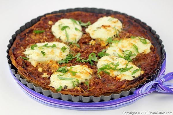 tomato goat cheese tart - http://www.phamfatale.com/id_2702/title_Tomato-Goat-Cheese-Tart-Savory-Tart-Recipe/