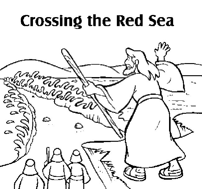Moses Parting the Red Sea Coloring