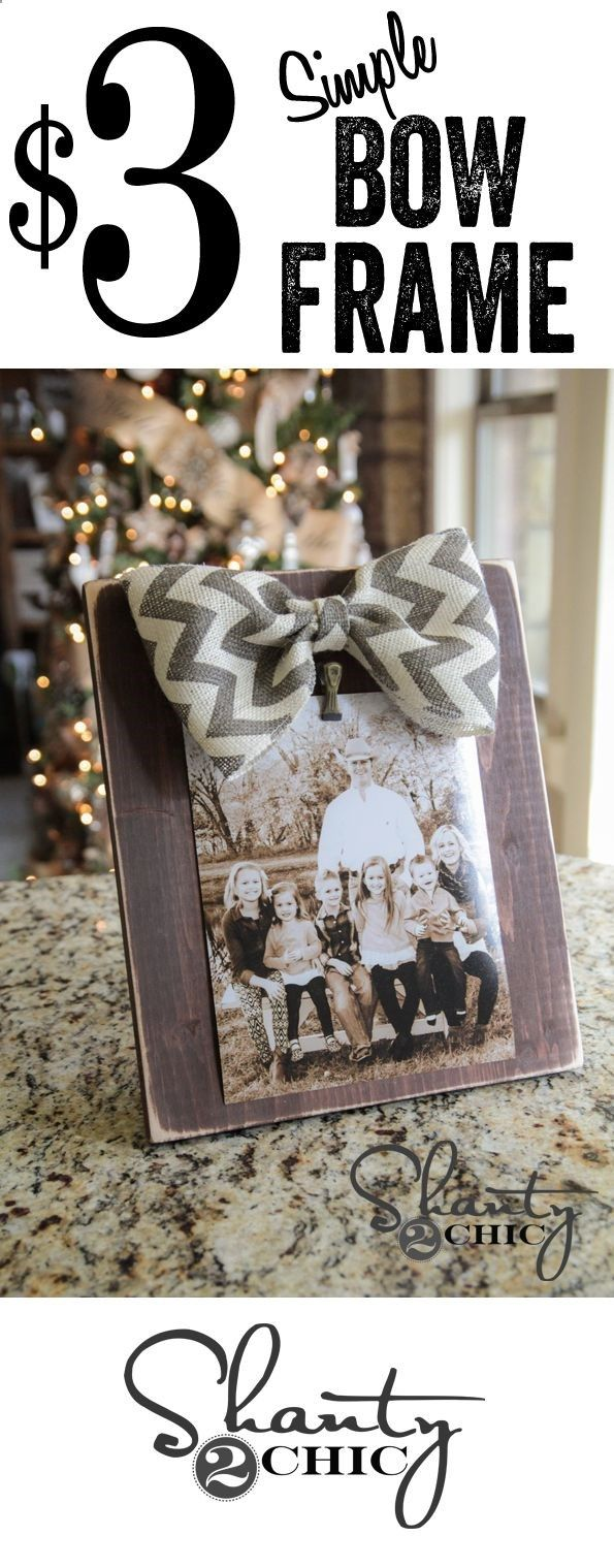 Super cute and easy DIY bow picture frames... Perfect #Christmas gift idea!! #12days72ideas