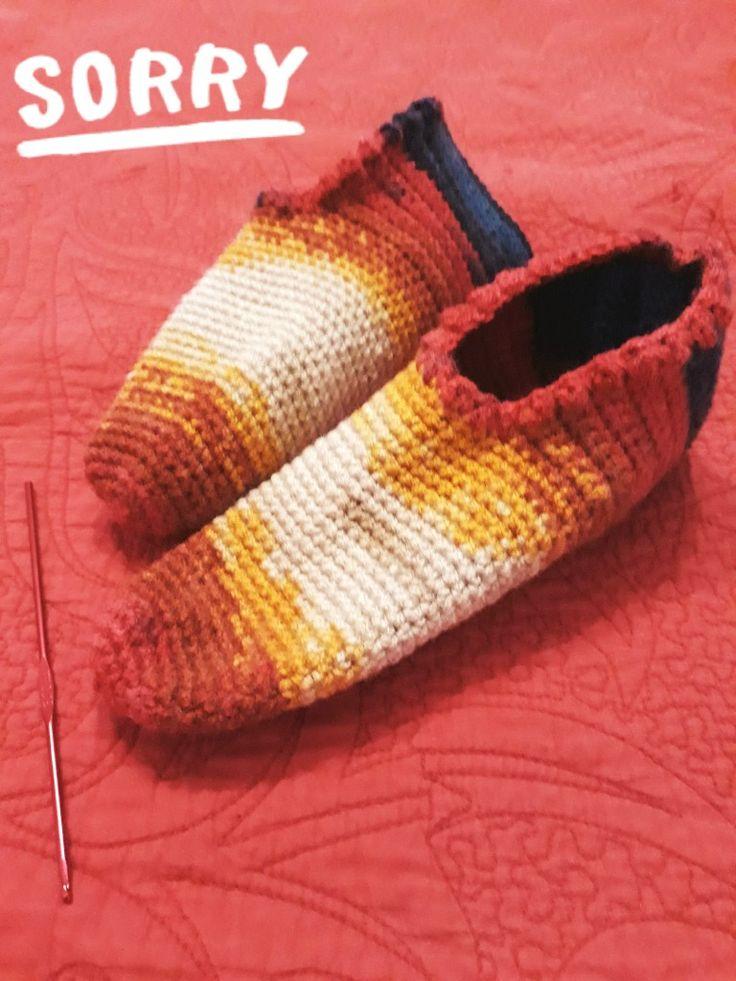 Sosoni crosetati. Crochet adult slippers.