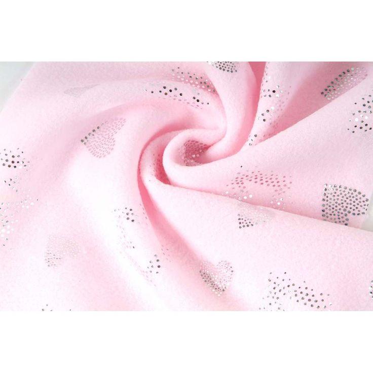 Fleece, micropolar, růžová se vzorem,  látky, metráž