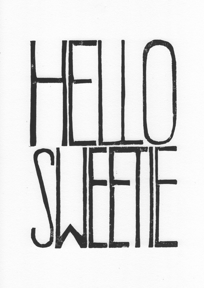 Hello Sweetie - Movie poster handmade from LINOCUT print - Doctor Who River Song, Hello Sweetie, Nursery Lino letterpress, typography Art Print, black ink