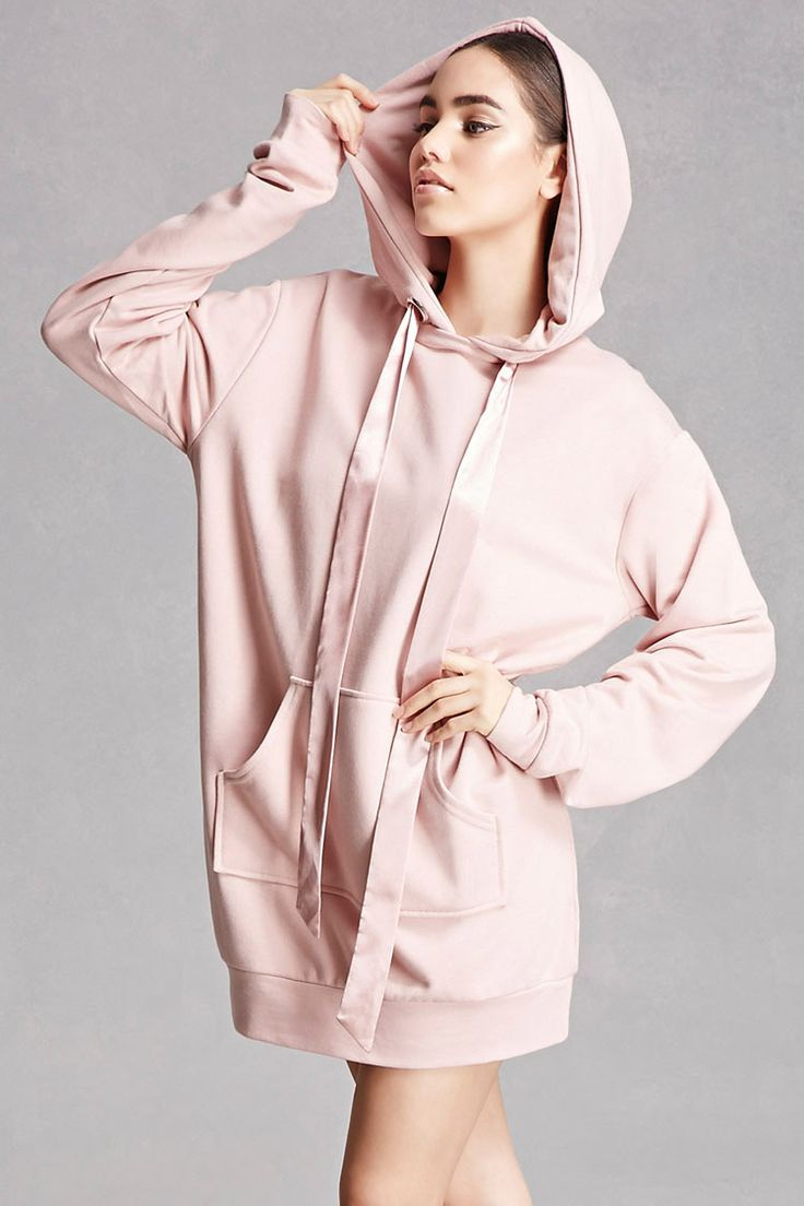 This Knit Longline Hoodie Features Oversized Satin Drawstring Ties Dropped Shoulders Long Sleeves A Kangaroo Pocket Hoodie Fashion Fashion Oversize Hoodie [ 1104 x 736 Pixel ]