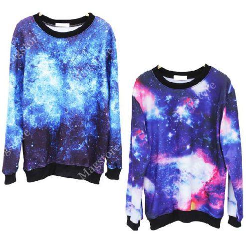 Stern Universum Muster Damen Herren Pullover Pulli Hoodie Loose TOP Blogger S-XL