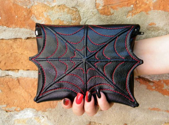 Spider web makeup cosmetic bag for purse, faux leather make up bag, cosmetic spider bag, black and red, vegan bag, small bag, goth  makeup