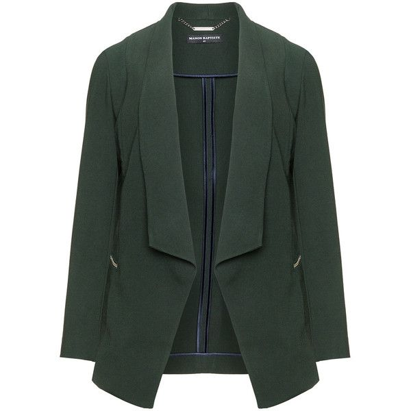 Manon Baptiste Dark-Green Plus Size Open front zip detail blazer ($175) ❤ liked on Polyvore featuring outerwear, jackets, blazers, plus size, womens plus size jackets, open front blazer, zip jacket, a line jacket and tailored jacket
