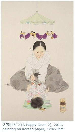 """A happy room / painting on korean paper / Sunmi Shin""  - traditional + modern + warm + humorous"