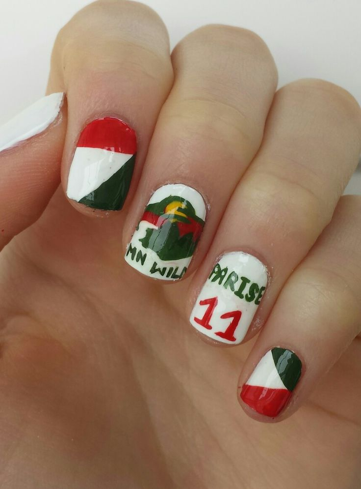 Minnesota wild hockey nails by diydazzlenails om youtube