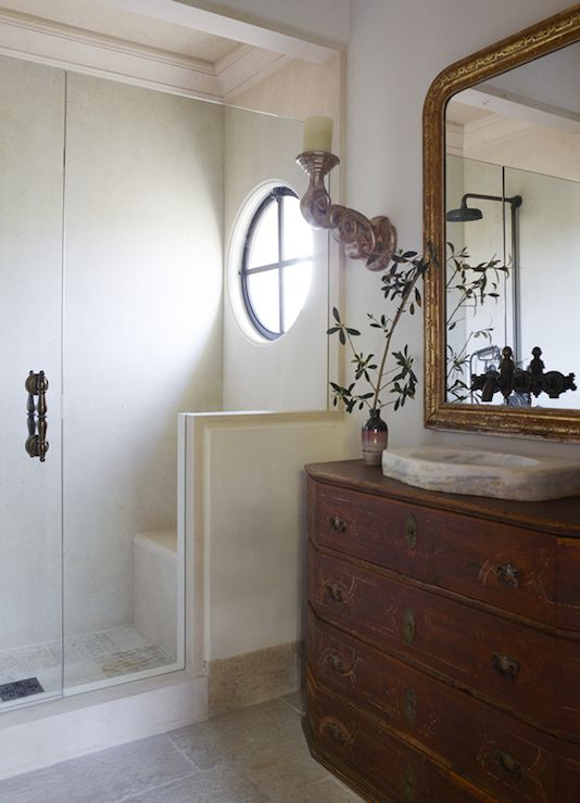 Antique Washstand As Vanity With Carved Marble Sink On Top