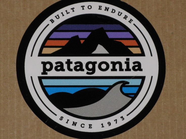Patagonia Mountains and Waves Built to Endure Circle Vinyl Sticker Decal NEW #Patagonia