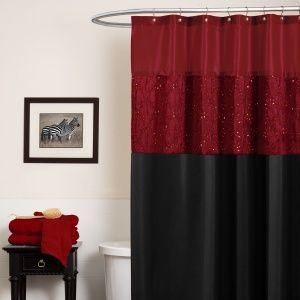 red and black shower curtain - this would work in my zebra themed bathroom!