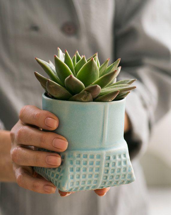 Geometric ceramic Planter ,turquoise succulent planter , modern ceramic planter , blue patterned vase , Air Plant Pot  Modern geometric planter,