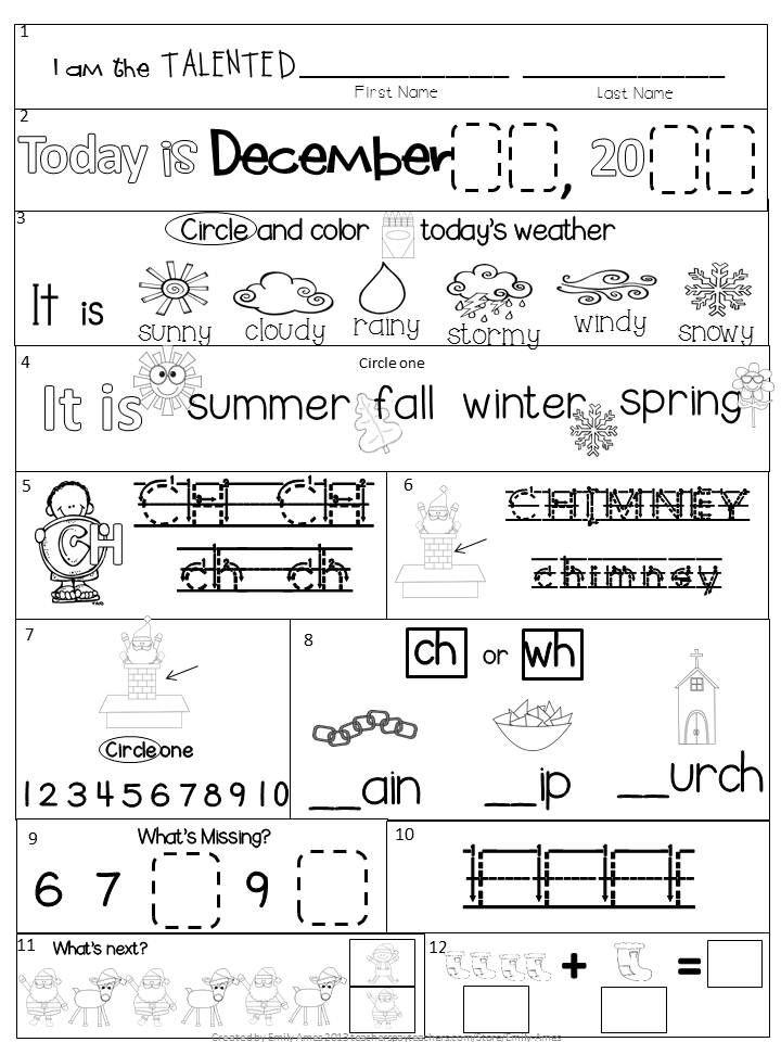 December Kindergarten Morning Work Common Core