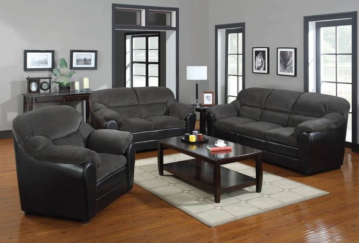 Connell Dark Grey Corduroy Espresso Fabric Sofa Sofas