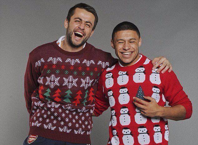 Fabianski & Oxlade-Chamberlain in Christmas Knitwear.