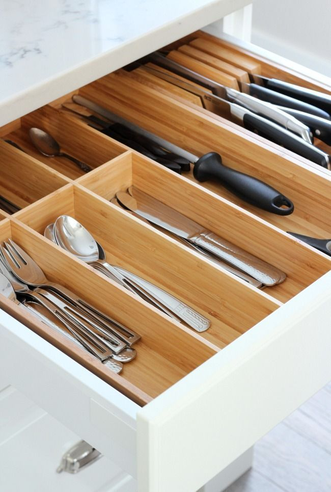 IKEA Bamboo Cutlery Tray - Tips for a Better Organized Kitchen - Kitchen Drawer Organizer